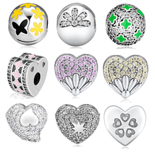 CKK Beads 100% 925 Sterling Silver Daisy In my Heart Cosmic Stars Clip Charm for Jewelry Making Fit Bracelets free shipping