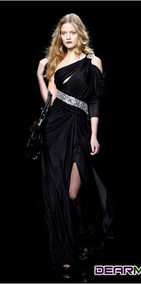 Купить с кэшбэком free shipping 2018 fashion vestidos formal beaded one shoulder black long elegant evening party gown mother of the bride dresses