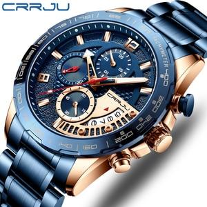 Image 1 - CRRJU 2020 Fashion Stainless Steel Mens Watches Top Brand Luxury Business Luminous Chronograph Quartz Watch Relogio Masculino