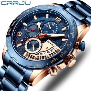 Image 1 - CRRJU 2020สแตนเลสแฟชั่นหรูหราธุรกิจLuminous Chronographนาฬิกาควอตซ์Relogio Masculino