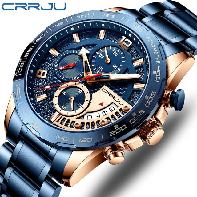 CRRJU 2020สแตนเลสแฟชั่นหรูหราธุรกิจLuminous Chronographนาฬิกาควอตซ์Relogio Masculino