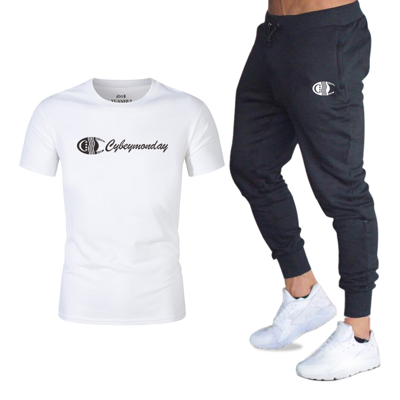 2020 Men's  New Sets  Breathable Fabric Mens 2 Piece O-neck Shirt + Trousers Outfit Sport Set Summer T-shirt +Trousers Pants