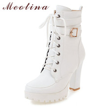 Купить с кэшбэком Meotina Winter Ankle Boots Women Boots Zipper Block Heels Short Boots Buckle Extreme High Heel Shoes Ladies White Big Size 34-43