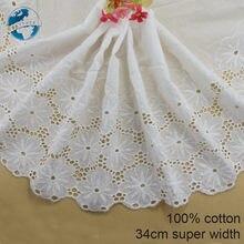 Fita de renda bordada de 100% algodão, 34cm, largura, equipamento de casamento, faça você mesmo, acessórios de roupa, boneca africana #3992
