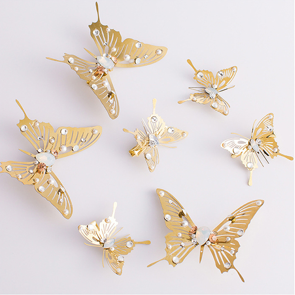 1PC Trendy Golden Butterfly Dragonfly Hairpins Bridal Headpiece Wedding Hair Accessories Transparent Wings Dragonfly Hair Clip