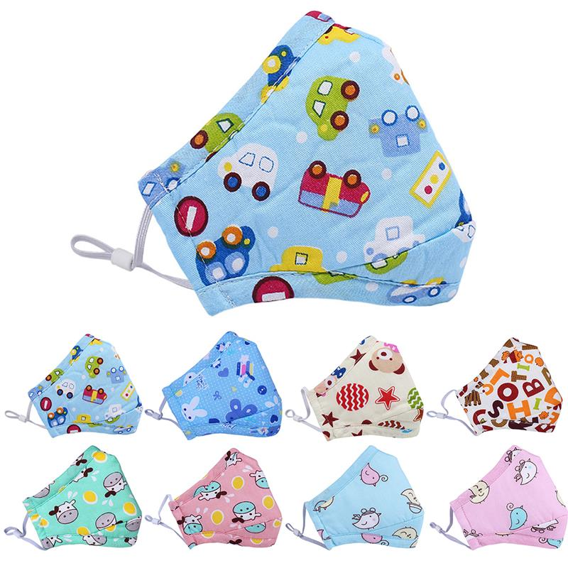 1pc Mouth Masks Cartoon Printing Dustproof Breathable PM2.5 Kids Cotton Mouth Face Nose Mask Cover Anti-Dust Random Color