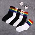 Модные женские носки, хлопковые, в радужную полоску, рождественский подарок, классические, теплые, повседневные, в стиле Харадзюку, забавные...