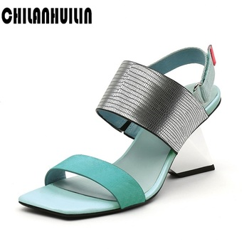 2020 women summer shoes high heels ladies soft leather wedges strange style high heel party wedding shoes beach sandals women