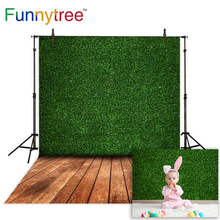 Funnytree photographic backdrops green grass artificial lawn field vintage wooden floor background for photo studio photocall