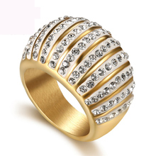 New arrival argil finger ring high quality jewelry gold color titanium steel casting crystal rings for women free shipping
