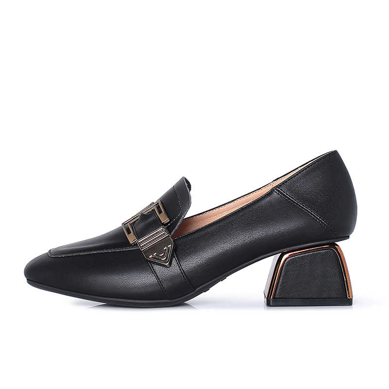 KATELVADI kadın elbise ayakkabı Oxford ayakkabı resmi iş ayakkabı Slip-on Retro ayakkabı toka kadın ayakkabı kalın topuk loafer'lar XSX005
