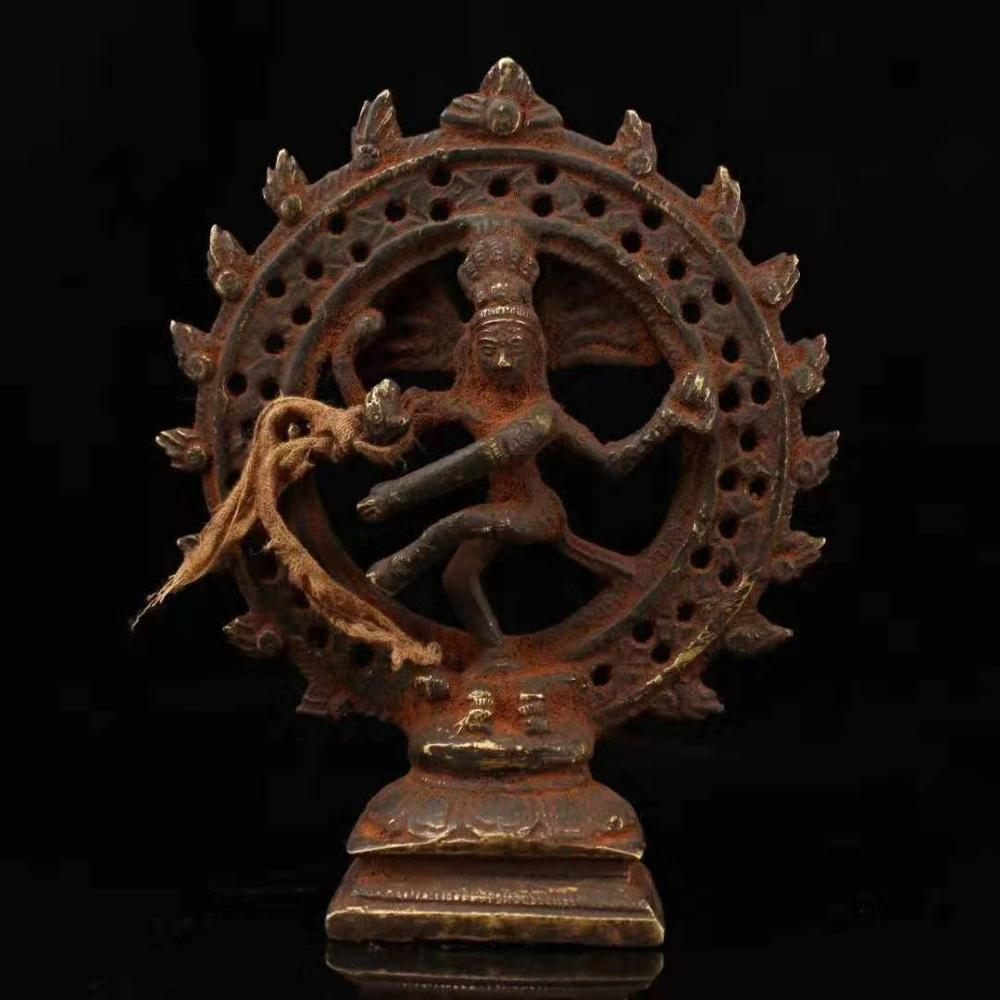 China's Tibet Collects The Old Tibetan Pure Copper Pure Hand Made Shiva Protection Dharma Statue