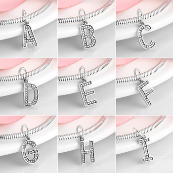 New 925 Sterling Silver Alphabet Letter bead A to Z Clear CZ Charms Pendent Fit Original Pandora Bracelets for Women Jewelry