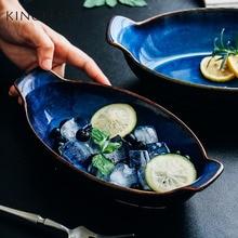 1 pcs KINGLANG Klin Blue Boat shaped plate ceramic long fish bowl baking cheese bowl dish