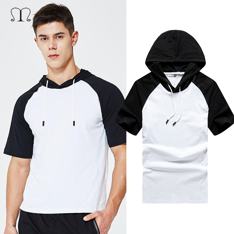 Summer Men T Shirt Casual Short Sleeve Hooded Cotton T-shirt Mens Brand White Black Patchwork Tee Shirts Male Streetwear Tops