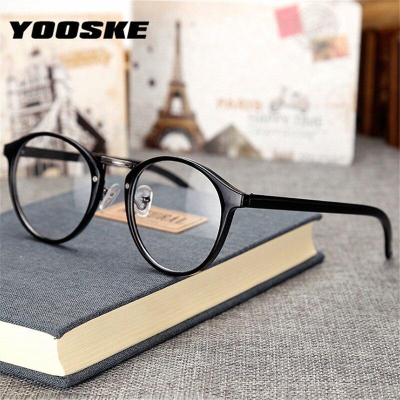 YOOSKE Round Finished Glasses Frames Women Nearsighted Diopter Eyeglasses Men Transparent Optical Myopia Frame -1.5 -2.0 -2.5