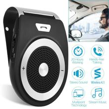 цена на New Car Bluetooth Kit Handsfree Speaker Phone Support Bluetooth 4.1 EDR Wireless Car Kit Mini Visor Can Hands Free Calls