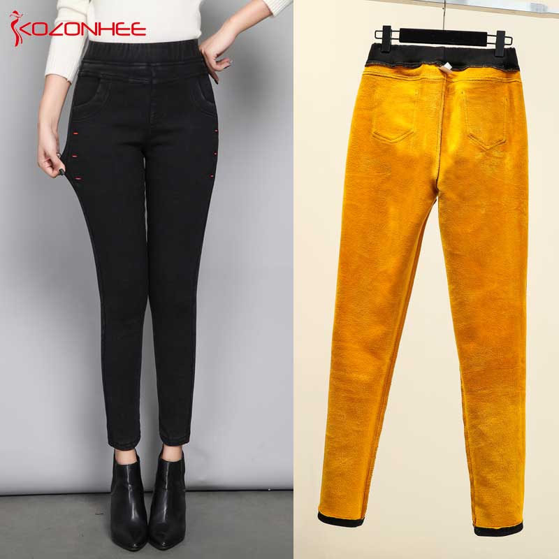 Large Size Warm Jeans Women Winter Slim Denim Black Jeans Pencil Pants Trousers Skinny Jeans Woman Elastic Waist Jean Femme #35