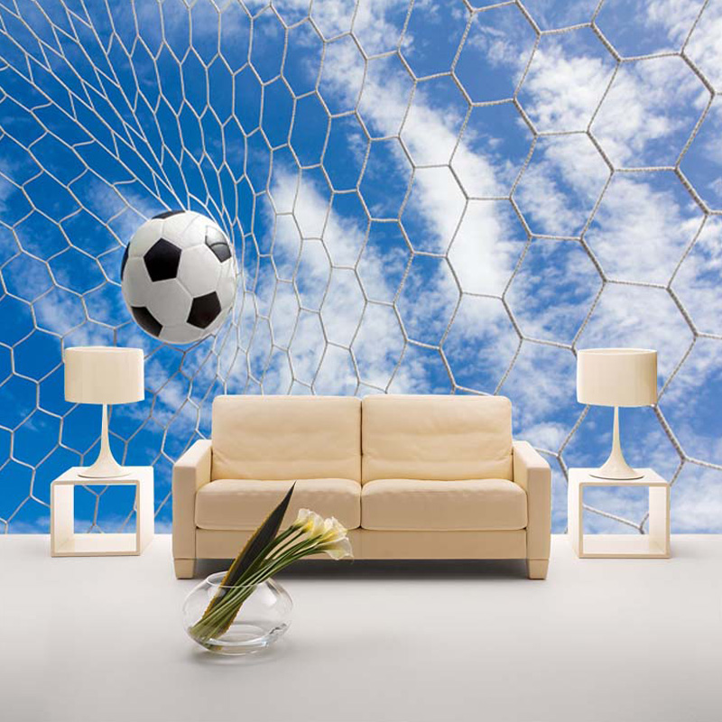 Custom Mural Wallpaper Modern 3D Stereoscopic Sport Football Blue Sky White Clouds Living Room Boys Bedroom Decoration Wallpaper