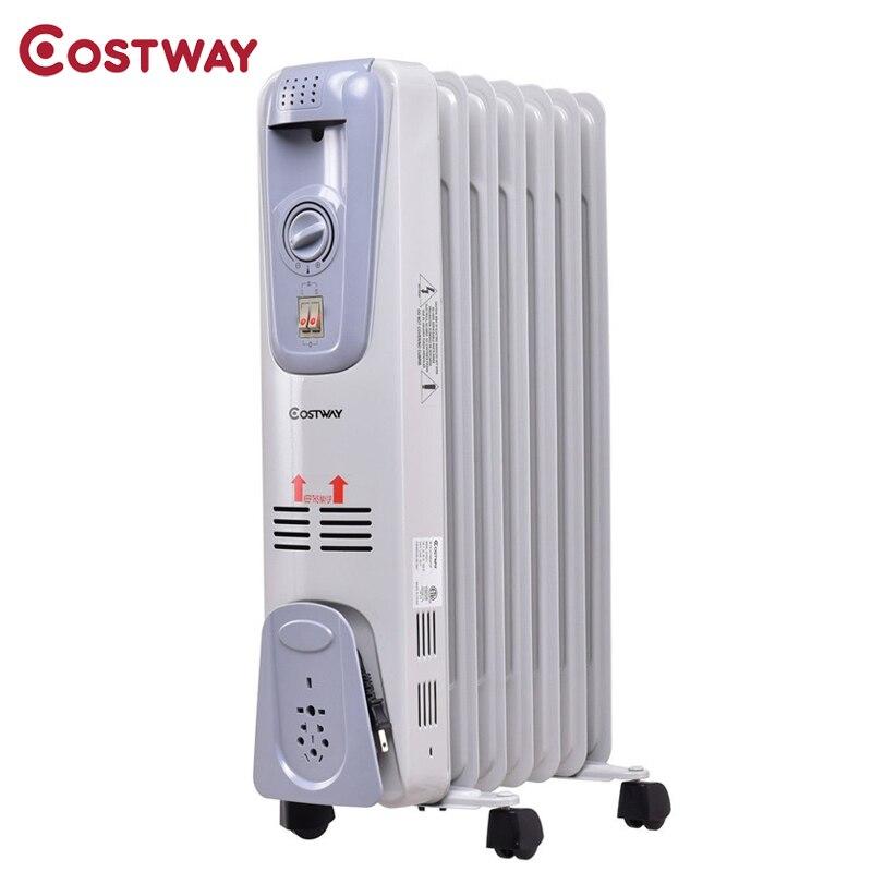 1500 W 7-Fin électrique rempli d'huile espace Thermostat chauffage Portable réglable trois réglages de chaleur système de Protection contre la surchauffe