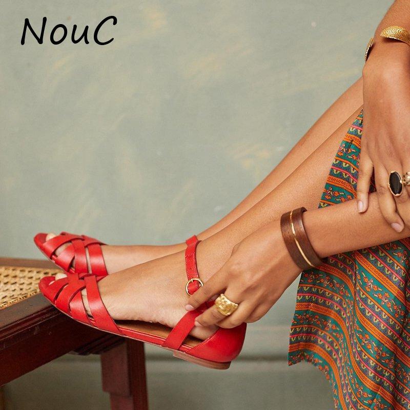 NouC Low Heels Women Fashion Remo Sandals Vacation Women's Casual Monochrome Vintage Roman Plus-size Flat Slippers Sandals Shoes