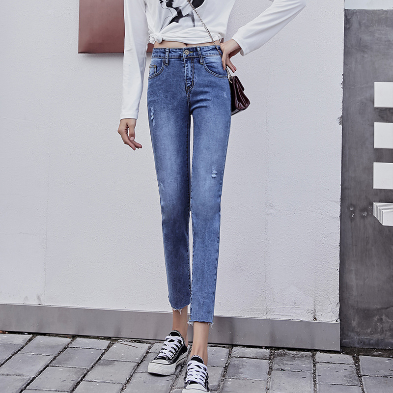 Autumn New Style Women's Fashion Jeans Korean-style Slim Fit Slimming High-waisted Elasticity With Holes Skinny Pants
