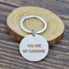 You Are My Sunshine Stainless Steel Silver Keychain Letters Chic Friendship Pendant