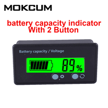 Battery Capacity Indicator Dual Button Adjustable Voltmeter Percentage Power Monitor For 12V-48V Lead Acid Battery With Shell