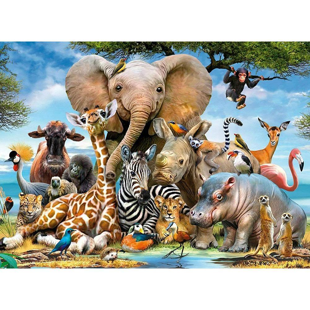 1000 шт. взрослых детские развивающие игрушки головоломки игрушки слон животный мир головоломка декомпрессии интерактивные игрушки для детей Пазлы      АлиЭкспресс