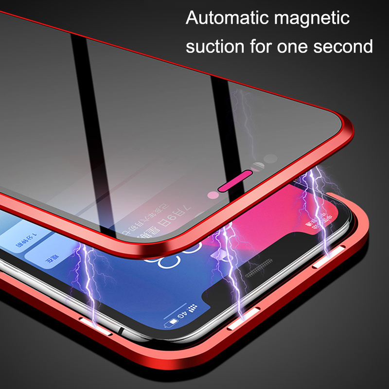 Image 4 - Double sided glass Magnetic Adsorption Phone Case for iPhone XS MAX X XR Case Metal Magnet Cover 360 Full Protection  Phone Case-in Fitted Cases from Cellphones & Telecommunications