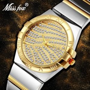 Image 5 - Miss Fox relojes de muñeca para mujer, reloj de lujo para mujer, dorado con piedras, marcas famosas con logotipo con moda, relojes casuales, 2017