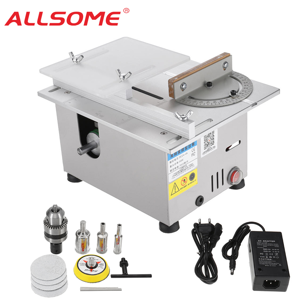 ALLSOME  DC 12-24V T6 Version Table Saw Mini Precision Table Saws DIY Wood Working Lathe Polisher Drilling Machine