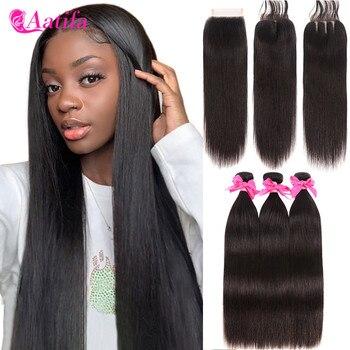 цена на Straight Hair Bundles With Closure Brazilian Hair Weave Bundles With Closure Aatifa 100% Human Hair 3/4 Bundles With Closure