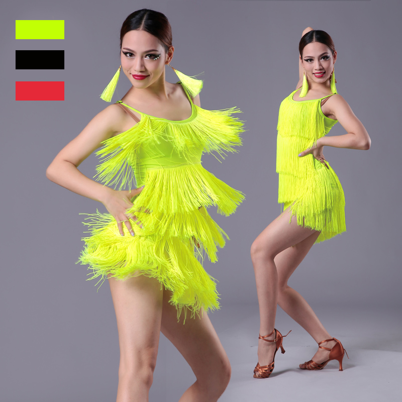 Girls Women Modern Ballroom Latin Dance Dress Tassel Fringe Salsa Tango Dance Costume Sexy Red Black Performance Stage Wear
