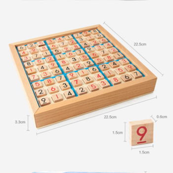 the wooden sudoku board game with it's number pieces showing the dimensions of the game