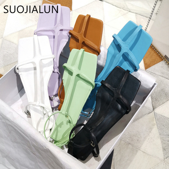 SUOJIALUN 2020 New Fashion Summer Women Sandal Shoes Flat Gladiator Back Strap Beach Sandal Casual Vacation Sandalias Mujer jady rose weave style women genuine leather flat sandal hollow out gladiator sandals flats casual beach shoes woman sandalias