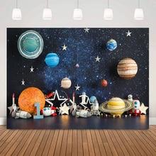 Little Astronaut Birthday Cake Smash Backdrop for Photography Planet Cosmic Adventure Kids 1st Birthday Portrait Background