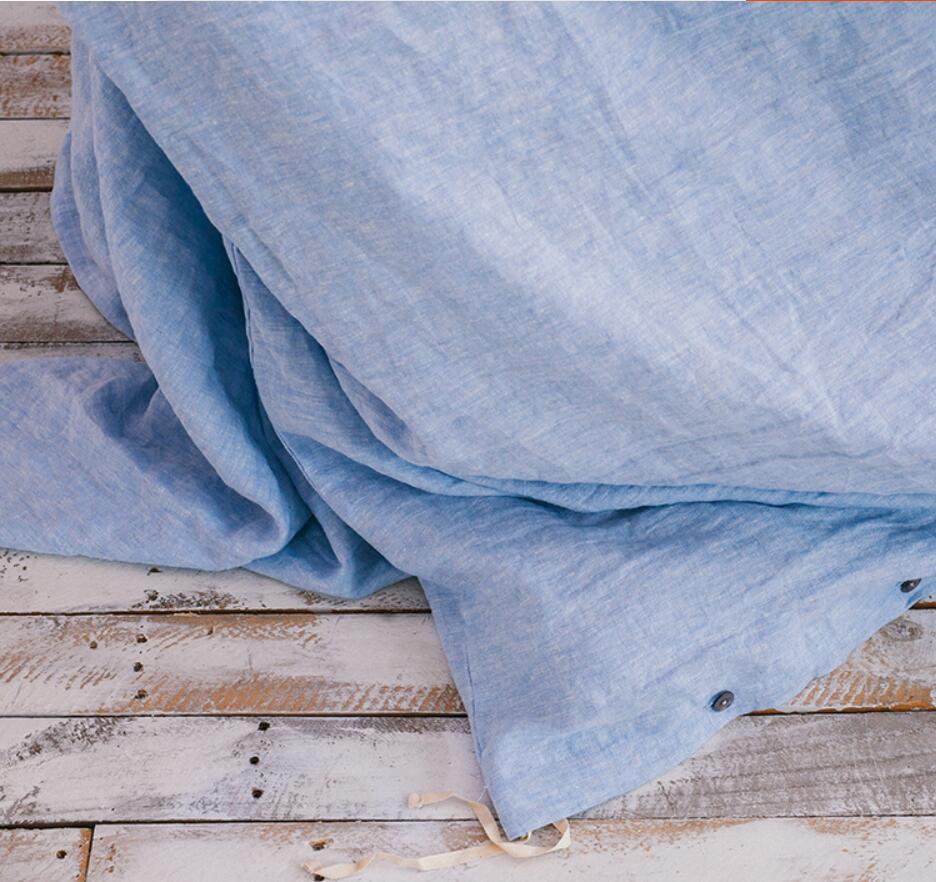 100% льняные небесно голубые водоочистные крашеные пряжа роскошные настраиваемые размеры 4 шт постельные принадлежности для отеля американо... - 5