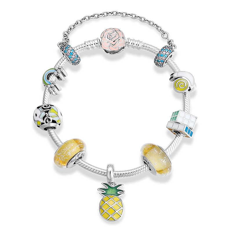 925 Sterling Silver Smalto Colorato Ragazza di Murano Perline Arcobaleno ananas Regalo Dei Monili del braccialetto del Braccialetto di Fascino per Le Donne Finiti