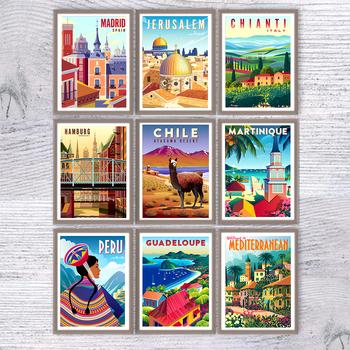 strong Import List strong Nordic Vintage Travel miasta plakat włochy karaiby Chile minimalny obraz na płótnie z krajobrazem malarstwo pejzaż obraz ścienny Home Deco tanie i dobre opinie CN (pochodzenie) Wydruki na płótnie PŁÓTNO Wodoodporny tusz Malowanie natryskowe bez ramki Pojedyncze Att067 Pionowy prostokąt