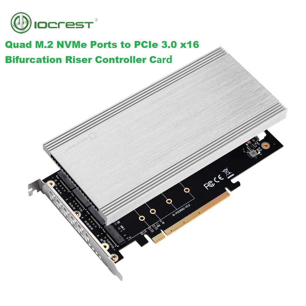IOCREST 4 Ports M.2 NVMe Ports To PCIe 3.0 X16 Bifurcation Riser Controller Support Non-bifurcation Motherboard