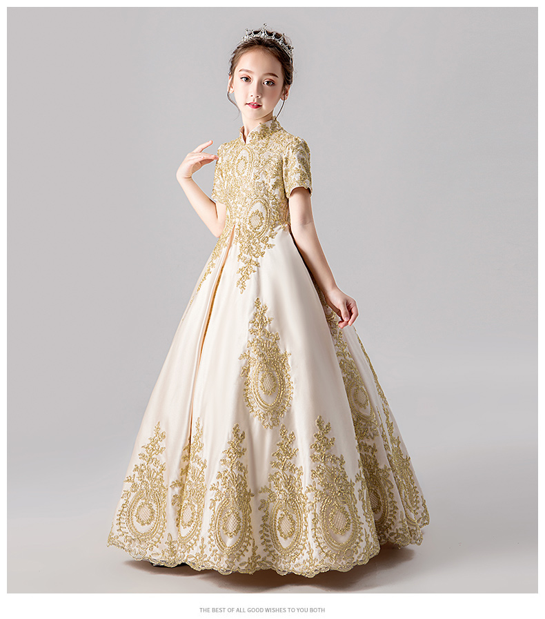 Girls High Quality Lace Hollow To Floor Princess Dress Kids Girl Wedding Birthday Party Ball Gown Tail Dress Girls Costume
