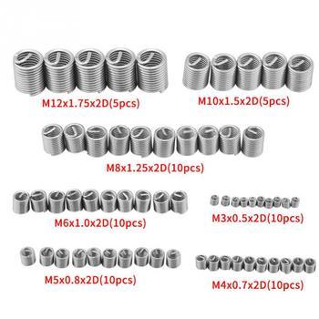 60Pcs M3 M4 M5 M6 M8 M10 M12 Stainless Steel Thread Repair Insert Kit Set For Hardware Repair Tools