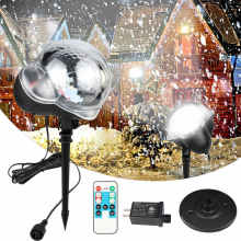 LED Snowfall Projector Light Waterproof IP65 Outdoor Christmas Snowflake Spotlight With Remote Control For Halloween Xmas Party