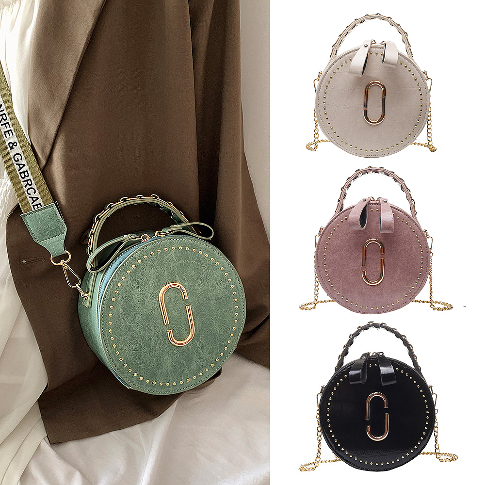 Beibaobao Circular Fashion Bags PU Leather Messenger Women Bags Rivet Crossbody Packages Female Shoulder Bags For Girls-in Top-Handle Bags from Luggage & Bags