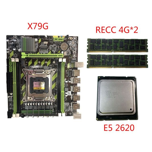 X79G Motherboard LGA 2011 DDR3 Mainboard with M.2 Interface E5 2620 CPU 2x4G Memory Card for In-tel Xeon E5 Core I7 CPUs