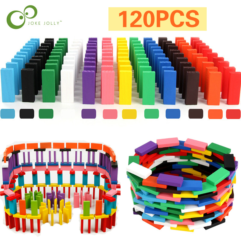 Domino Toys Children Wooden Colored Domino Blocks Kits Early Learning Dominoes Games Educational Children Train Toys ZXH