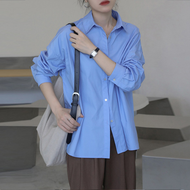 2021 Spring Summer Women Blouse Korean Long Sleeve Womens Tops Blouses  Solid Loose Women Shirts Blusas Roupa Feminina Tops 3