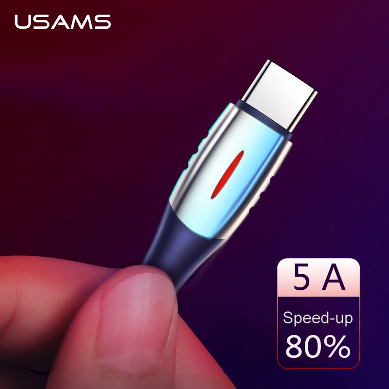 USAMS Type C USB Cable 5A Quick Charge Type C Cable Fast Charging USB C Wire Cord for Huawei P30 P20 Mate20 Pro OPPO Data Cable|Mobile Phone Cables| |  - AliExpress