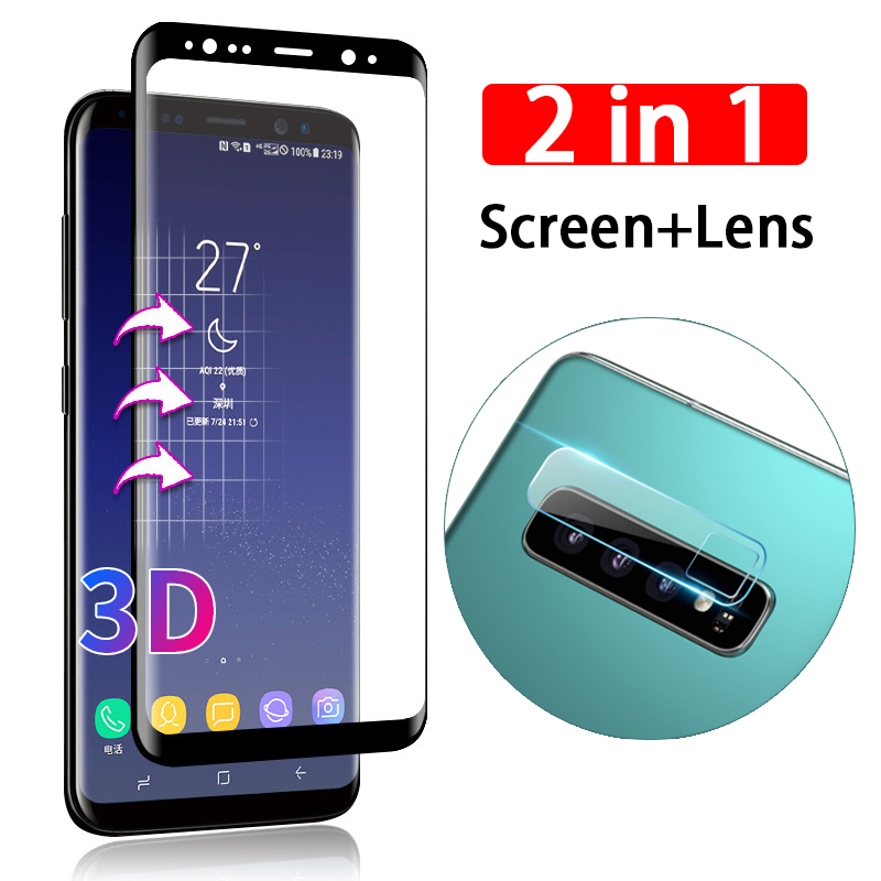 2 in 1 3D screen <font><b>Camera</b></font> Lens tempered <font><b>glass</b></font> protector for <font><b>Samsung</b></font> Galaxy S10 Lite S10e S 10 <font><b>S9</b></font> S8 Note 10 Plus 8 9 Note10 Pro image